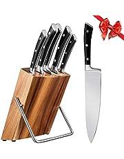 Professionele keukenmessenset, 6-delig, messenset van roestvrij staal met houten houder, super scherp, ergonomische greep