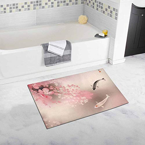 InterestPrint Spring Sakura Cherry Blossom with Koi Oriental Culture Home Decor Non Slip Bath Rug Mats Absorbent Shower Rug for Bathroom Tub Bedroom Large Size 20 x 32 Inches