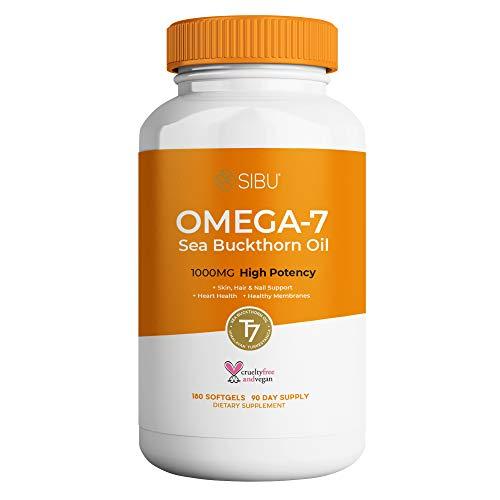 - SIBU Organic Sea Buckthorn Oil Blend Max Potency 1000 mg Omega 7, Fatty Acids, Pure Seaberry Oil, Omegas 3, 6, 9, Vegan 180 Softgels