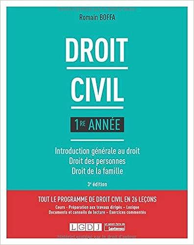 Droit civil 1re année : Introduction générale au droit, droit des personnes, droit de la famille (Français) Broché – 1 septembre 2020 de Romain Boffa