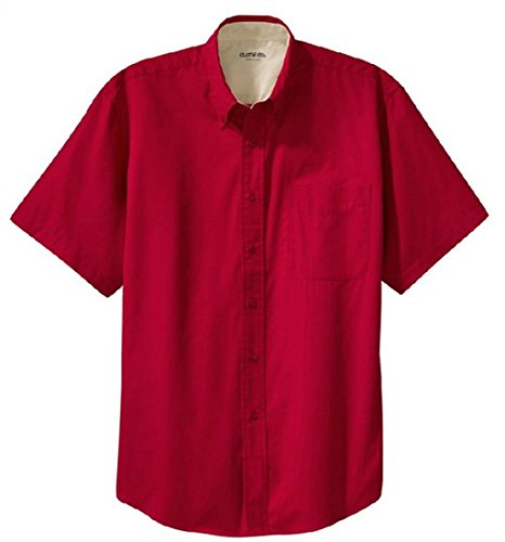 (Clothe Co. Mens Short Sleeve Wrinkle Resistant Easy Care Button Up Shirt, Red/Light Stone, XL)