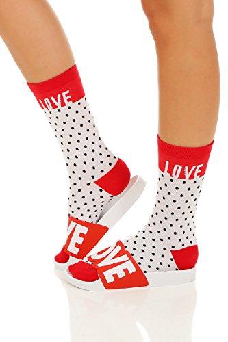 The White BrandThe White Brand - Pantuflas Mujer LOVE-Socks