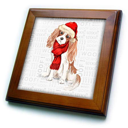 3dRose Doreen Erhardt Christmas Collection - Spaniel Lover Cavalier King Charles Dog Holiday Ready - 8x8 Framed Tile (ft_299896_1) - Cavalier King Charles Spaniels Framed
