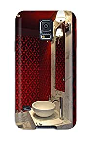 New Arrival Premium S5 Case Cover For Galaxy (contemporary Powder Room With Red Damask 038 Vessel Sink)