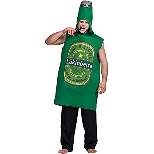 XIUYEE Adult's Beer Bottle Oktoberfest Costume German Bavarian Fancy Dress Halloween Outfit Green One Size -