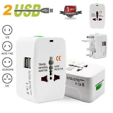 eErlik Latest Universal Adapter Worldwide Travel Adapter with Built in Dual USB Charger Ports (1 Year warrenty)