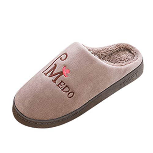 ANJUNIE Couples Home Slippers,Women's Mens Warm Slip On Comfortable Floor Indoor Shoes