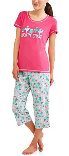 Secret Treasures Lookin' Sharp Women's Cactus/Cat 2 Piece Knit Pajama Sleep Set - XX-Large/18W-20W - Knit Sleepwear
