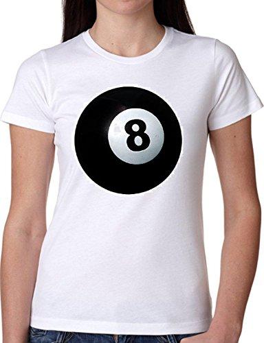 T SHIRT JODE GIRL GGG22 Z0151 BALL BLACK EIGHT SNOKER CASINO AMERICA FUNNY FASHION COOL BIANCA - WHITE S
