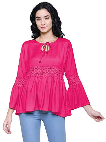 Fashion Mitra Casual Solid Bell Sleeve Rayon Lace Top