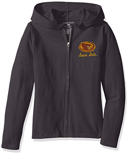 NCAA Iowa State Cyclones Girls Sweetheart Zip Hoodie, Size 14-16/Large, Pewter