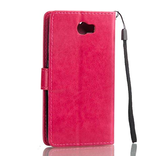 Trumpshop Smartphone Carcasa Funda Protección para Huawei Nova Plus + Rojo + PU Cuero Caja Protector Billetera con Función de Soporte Ranuras para Tarjetas Crédito Choque Absorción Rojo