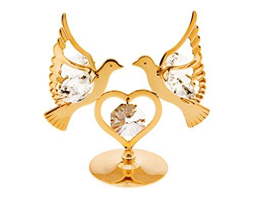 Love Birds 24k Gold Plated Figurine with Swarovski Crystals