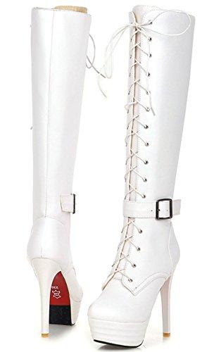 YE Damen High Heels Plateau Stiefel mit Schnürung Stiletto Schnallen 13cm Absatz Boots Weiß
