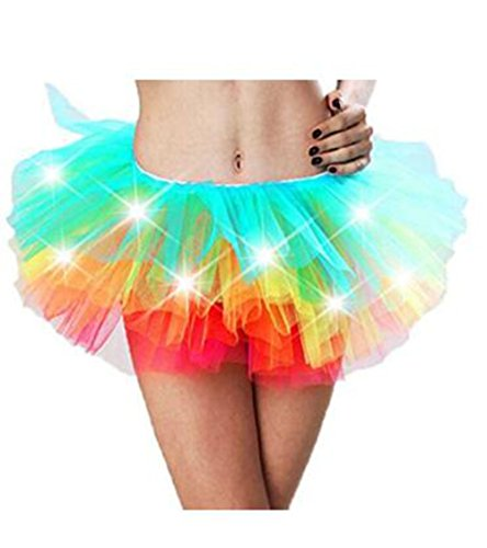 [Evalent Adult LED Rainbow Tutu Light Multicolor Mesh Legging Petticoat Dance Rave Tutu Skirt for Women 80s Costume Tutu for] (Light Up Costumes For Adults)