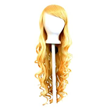29/'/' Long Curly w// Long Bangs Coral Pink Cosplay Wig NEW