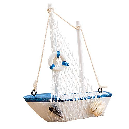 (Wansan Miniature Sailboat Model Wooden Sailing Boat Navy Blue and White with Lifebuoy Home Decor)