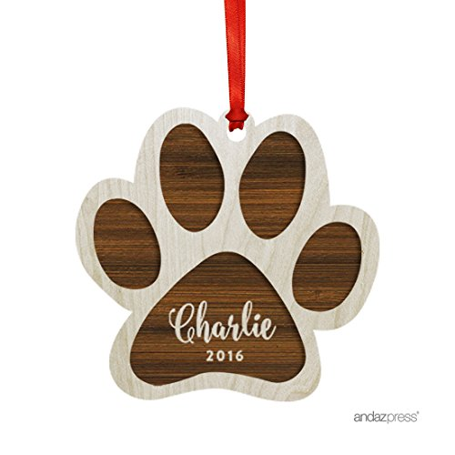 Andaz Press Personalized Laser Engraved Wood Christmas Ornament, Pet's Christmas 2017, Pawprint, 1-Pack, For Custom Cat Dog Gift Ideas