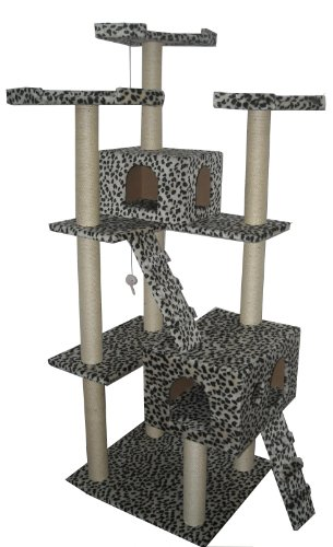 73″ Leopard Skin Cat Tree Condo Furniture Tower, My Pet Supplies