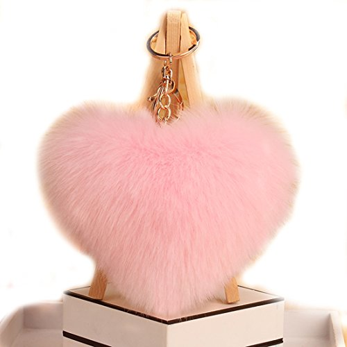 Pink Heart Keychain (URSFUR Artificial Rabbit Fur Ball Keychain Pom Bag Charm Pendant Toy Tassel Key Chain Hook)