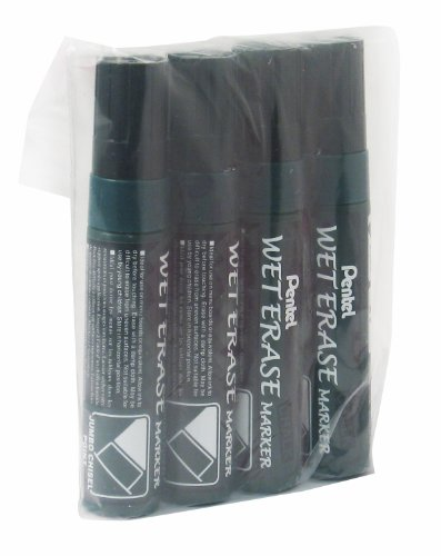 (Pentel Jumbo Wet Erase Liquid Chalk Marker - Black (Pack of 4))
