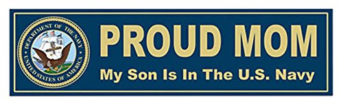 1 Pc Brilliant Unique Proud Mom My Son Is In The U.S. Navy United States of America Department Sticker Sign Window Military Bumper Decor Graphics Truck Decals Wall Macbook Laptop - Irish An Is Name Oakley