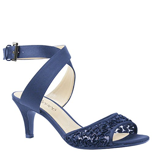 Navy Cross Ribbon - J. Renee Women's Soncino Criss Cross Ankle Strap Mid Heel Sandal,Navy Ribbon Lac