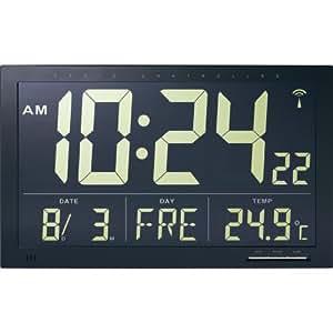 TECHNIKUS Digital Jumbo Radio Reloj de pared con temperatura interior/oro números