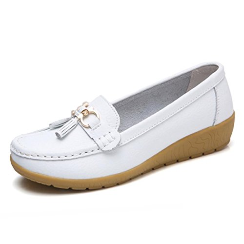 - Women Loafers Leather Oxford Slip On Walking Flats Anti-Skid Boat Shoes (5 B (M) US, V-White)