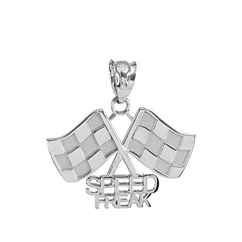 925 Sterling Silver Racing Flags with Speed Freak Charm Pendant ()