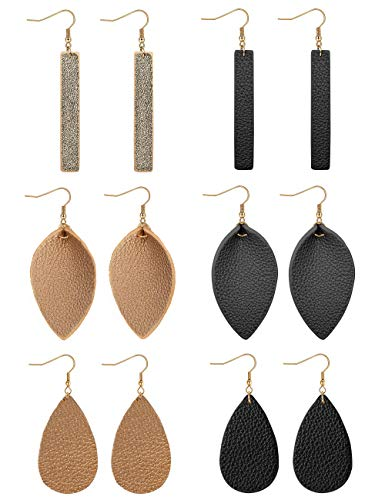 FUNRUN JEWELRY 6 Pairs Leather Dangle Earrings for Women Girls Bar Leaf Teardrop Leather Earrings Drop Lightweight