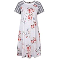 Twippo Women Floral Print Casual Dress Short Sleeve A-line Loose T-shirt Dresses