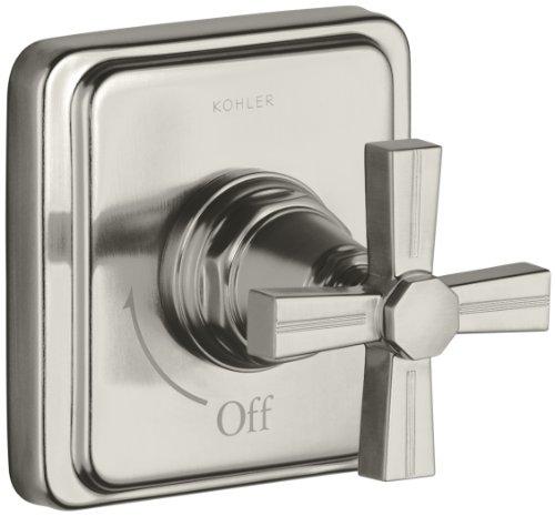 KOHLER K-T13174-3B-BN Pinstripe Volume Control Trim, Cross Handle, Valve Not Included, Vibrant Brushed Nickel - Bn Pinstripe Handles