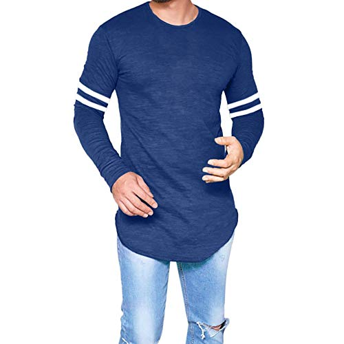 iZHH Men Shirt Classic Slim Fit O Neck Long Sleeve Muscle Casual Tops(Z2-Blue,XL) ()