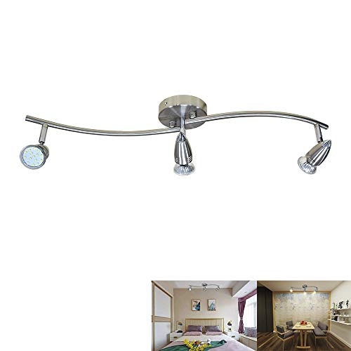 DLLT Modern LED Ceiling Spot Lights 3-Light Track Lighting Kit, Flushmount or Wall Light Fixtures, Adjustable Decorative Lights for Living Room, Bedroom, Hallway, Polished Chrome, GU10 Bulbs Included