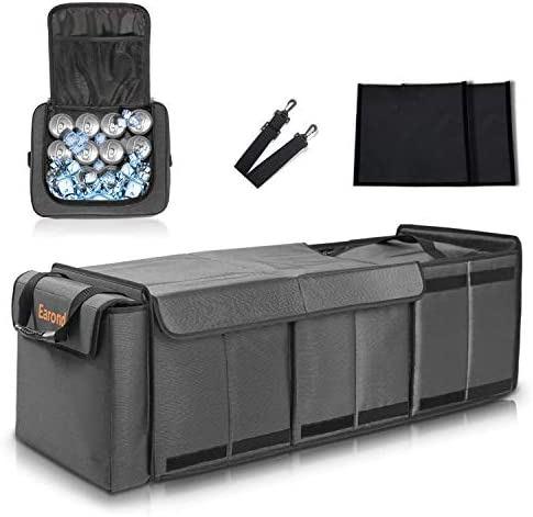 Car Trunk Organizer with Portable Insulation Cooler Bag, Earond 3 Compartments Collapsible Storage Bag with Cover, Portable Cargo Storage Box for Auto, SUV, Truck, Minivan and Other Vehicles.