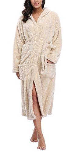 WitBuy Women's Fleece Bathrobe Long Hooded Robes Plush Nightgown Cotton Spa Robe Beige - Robe Fleece Cotton