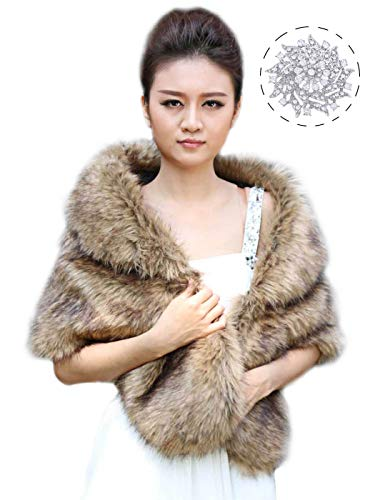 (Aukmla Women's Brown Faux Fur Shawl Wedding Fur Wraps and Shawls Bridal Fur Stole Scarf with Stunning Rhinestones Brooch for Bride and)