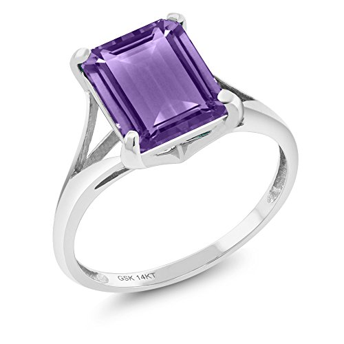 3.50 Ct Emerald Cut Purple Amethyst 14K White Gold Gemstone Birthstone Women's Solitaire Ring (Ring Size 6) Amethyst Solitaire Ring