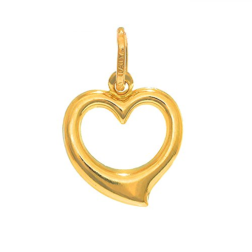 JewelStop 14K Yellow Italian Gold Puffed Love Open Heart Charm ()