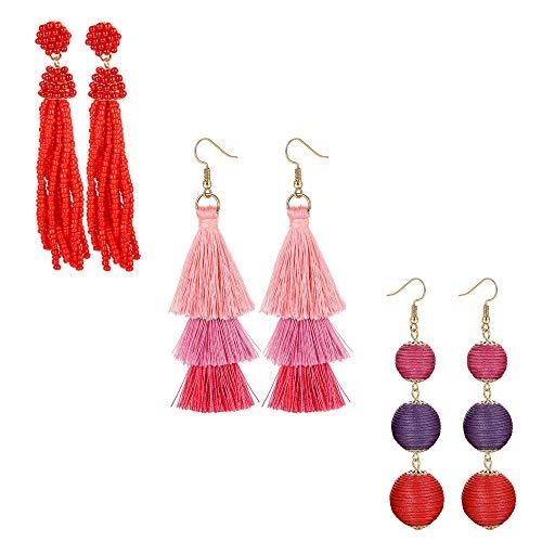 Jstyle 3 Pairs Bohemian Long Tassel Earrings Statement for Women Girls Balls Beaded Fringe Dangle Drop Tiered Thread Tassel Earring Set Dradient