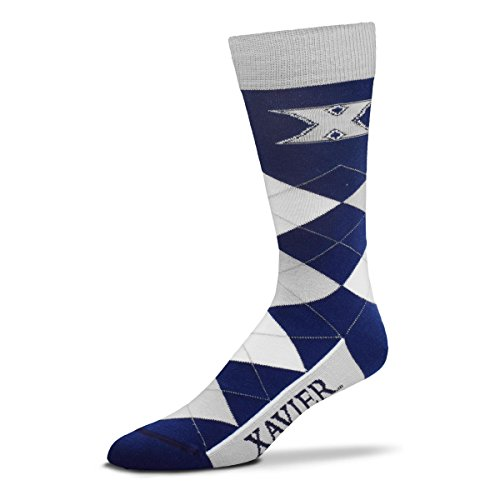 For Bare Feet NCAA Argyle Lineup Unisex Crew Dress Socks-One Size Fits Most-Xavier Musketeers ()