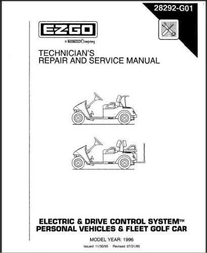 Cart Repair Gas Golf - EZGO 28292G01 1996 Technician's Service and Repair Manual for TXT Electric and DCS Vehicles