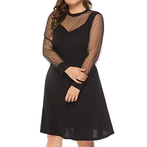 HYIRI Women's Summer Empire Plus Size O-Neck Lantern Sleeve Dot Mesh Patchwork Dress Black ()