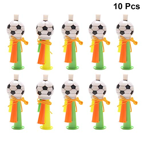 (Amosfun Football Trumpet Plastic Cheerleader Football Match Whistle Games Cheering Prop Kids Toys 10pcs (Random Color))