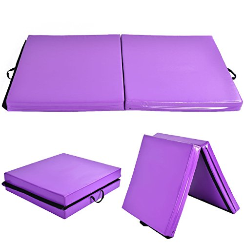 New 6'x38''X4'' Gymnastics Mat Thick Two Folding Panel Fitness Exercise Purple by MTN Gearsmith
