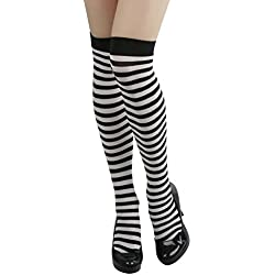 ToBeInStyle Women's Opaque Striped Knee High Warm Nylon Stockings Hosiery - Black with White Stripes - One Size: Regular