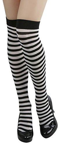 ToBeInStyle Women's Opaque Striped Knee High Warm Nylon Stockings Hosiery - Black with White Stripes - One Size: Regular