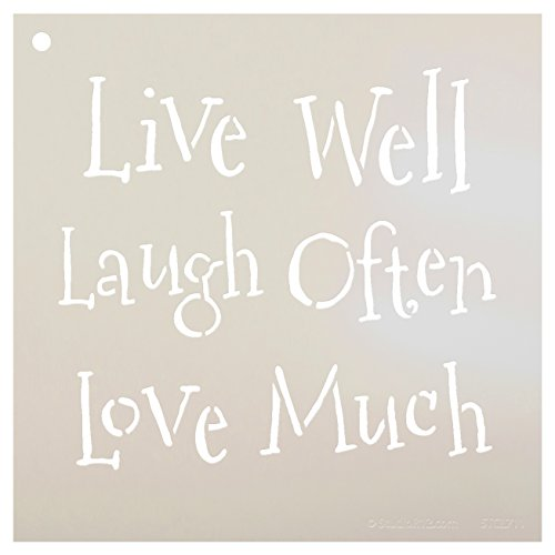 Live Laugh Love Stencil by StudioR12 | Whimsical Family Word Art - Small 7 x 7-inch Reusable Mylar Template | Painting, Chalk, Mixed Media | Use for Journaling, DIY Home Decor - STCL711_1
