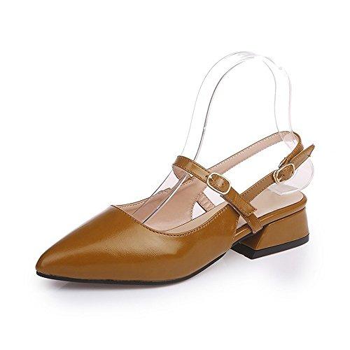 estrecha Plataforma boda Marrón Zapatos tacón bajo punta OCHENTA de Mujer Slingbacks nZzWEx1